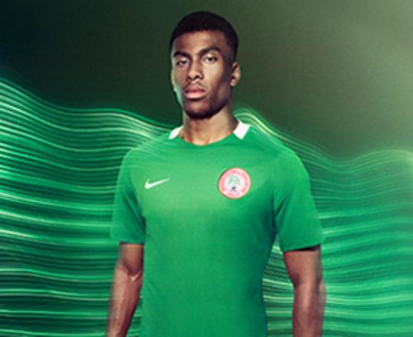 0174237d25f Nigeria poster boy Alex iwobi showing off the new kits Nigeria will wear  against Algeria tomorrow